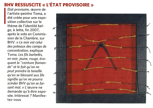 """Article paru dans le journal """"Le Soir"""" le 26 avril 2010"""